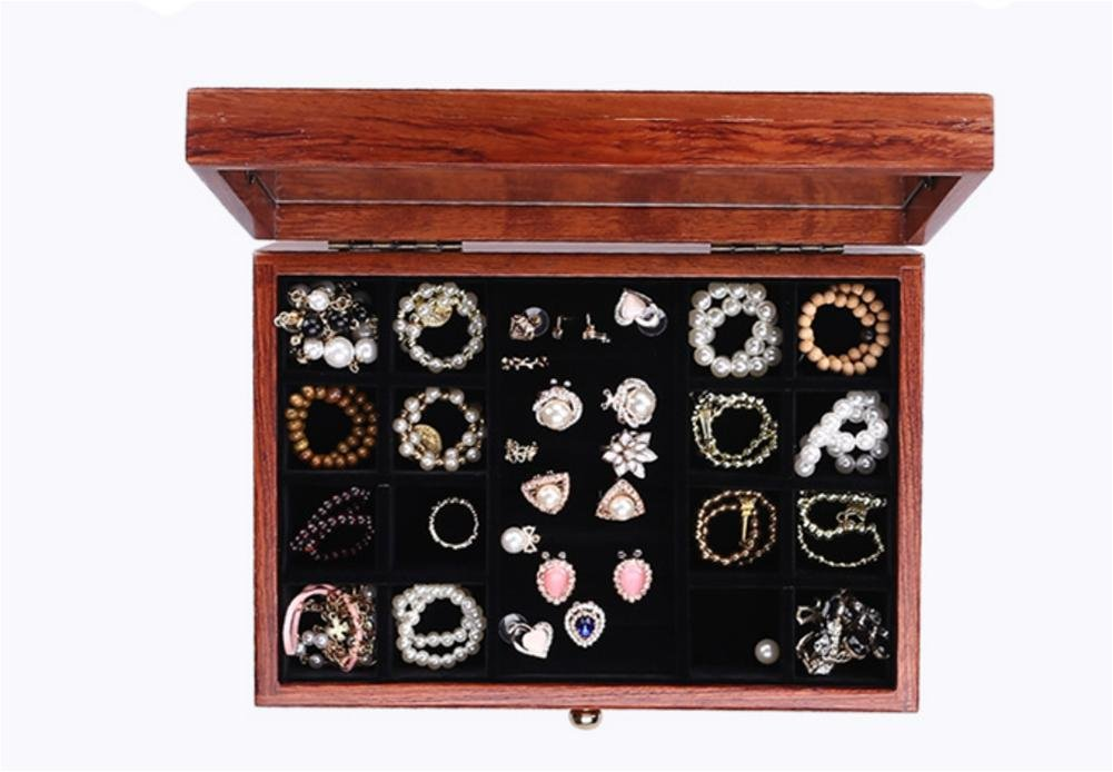 LUCKYYAN Retro fine Emboss Solid Wood Jewelry Box Necklace Storage Box Multifunctional Storage Box for Wedding Birthday Gifts , 2# by LUCKYYAN (Image #5)