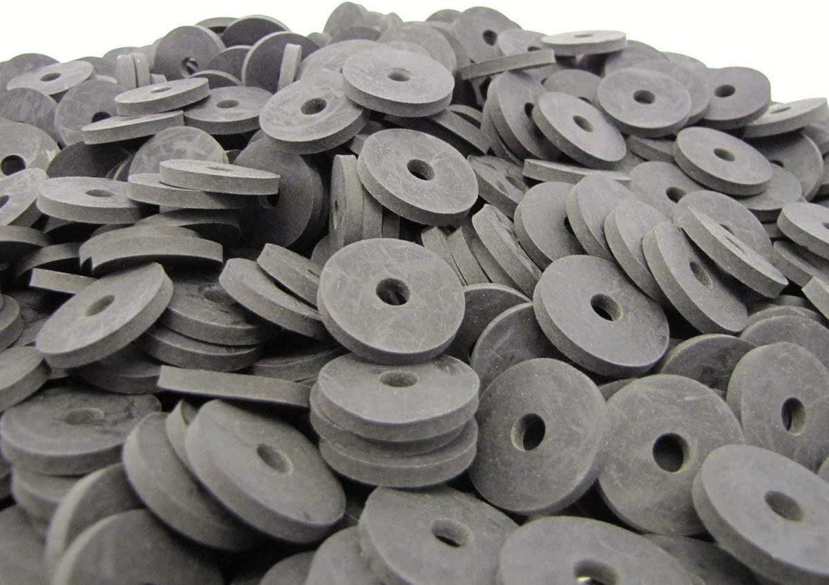"(100) Heavy Duty Abrasion Resistant Rubber Washers In Reusable Plastic Tub - 1"" Od X 1/4"" Id X 1/8"" Thickness - Primal23 Industrial Sbr70 Series Rubber Washers"
