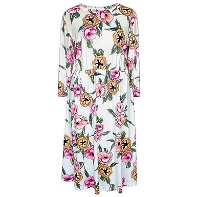 9f3f22568713f Lolittas Elegant Women Dresses For Weddings Guest, Summer Floral Printing  3/4 Sleeved Round Neck Boho Swing A-Line Knee-Length Wedding Sun Dress: ...