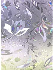 Zindoo Privacy Window Film Stain Glass Film Window Cling No-Glue Static Decorative Window Covering Frosted Window Film