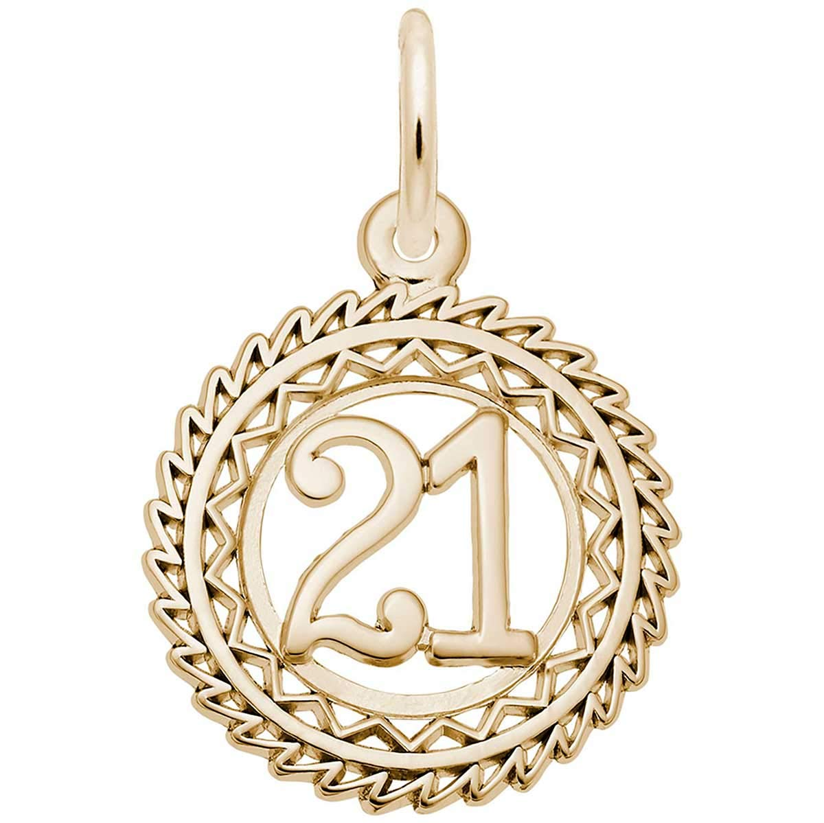 Rembrandt Charms Number 21 Charm, 14K Yellow Gold