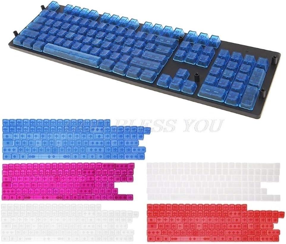 Casquettes de clavier 104 clés Transparent ABS blanc Keycaps for MX Commutateurs Gaming Keyboard casquettes clavier mécanique (Color : White) Transparent