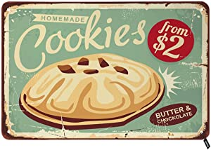 Swono Homemade Cookies Tin Signs,Butter Cookie Food Bakery Biscuit on Old Background Vintage Metal Tin Sign for Men Women,Wall Decor for Bars,Restaurants,Cafes Pubs,12x8 Inch