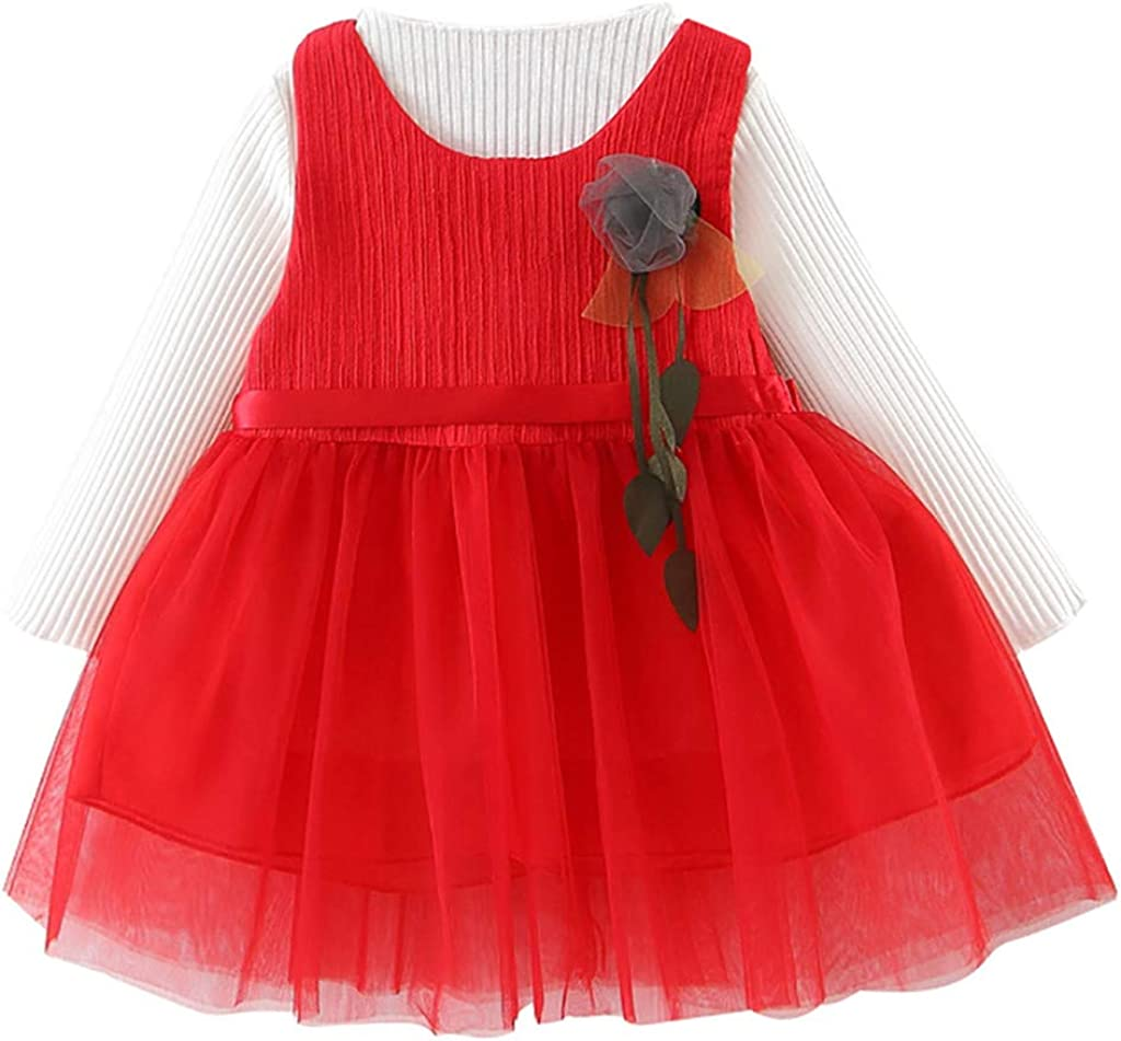 Vinjeely Baby Girls Winter Princess Dress Solid Knit Long Sleeve Tops Ruffle Tulle Tutu