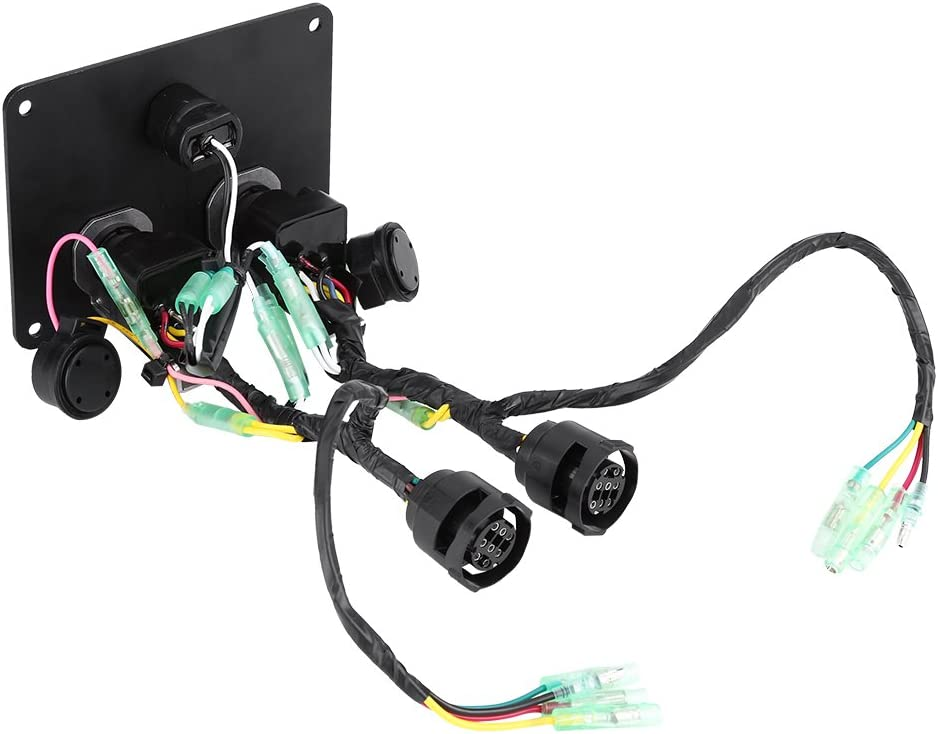 Keenso Dual Engine Key Switch Panel 12V Dual Key Switch Panel Assembly for Yamaha Outboard Engine Yacht 6K1-82570-13-00
