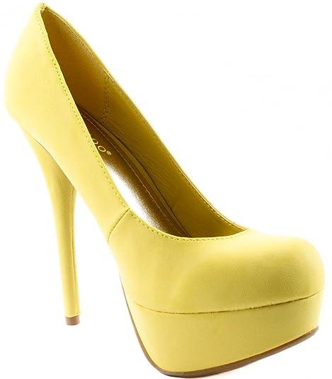 7730f0e37201 BAMBOO Women s Shoes Colada-01N Lemon Nub High Heel Pumps 6 D(M)