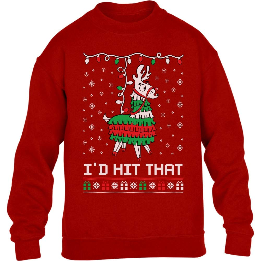 Shirtgeil Lama pignatta di Natale Ugly X-mas Game Maglione per Bambini e Ragazzi