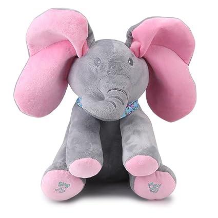 Zerodis Hablando Canto Linda Felpa Elefante Animal de Peluche Juguete electrónico Interactivo para muñecos de bebé