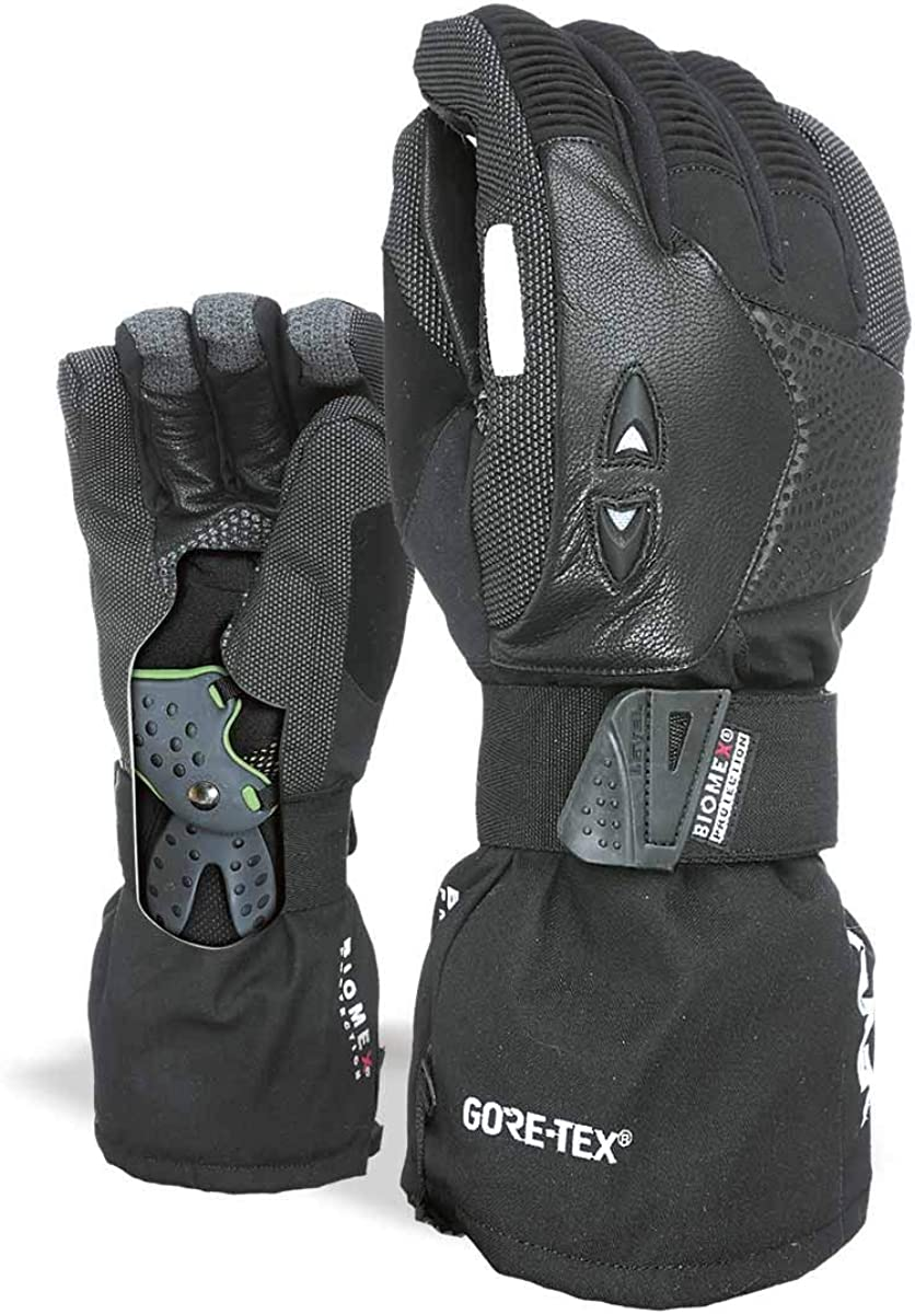 Durable SuperFabric Level Super Pipe Snowboard Gloves with BioMex Wrist Protection with Leather and GoreTex Waterproof Tech