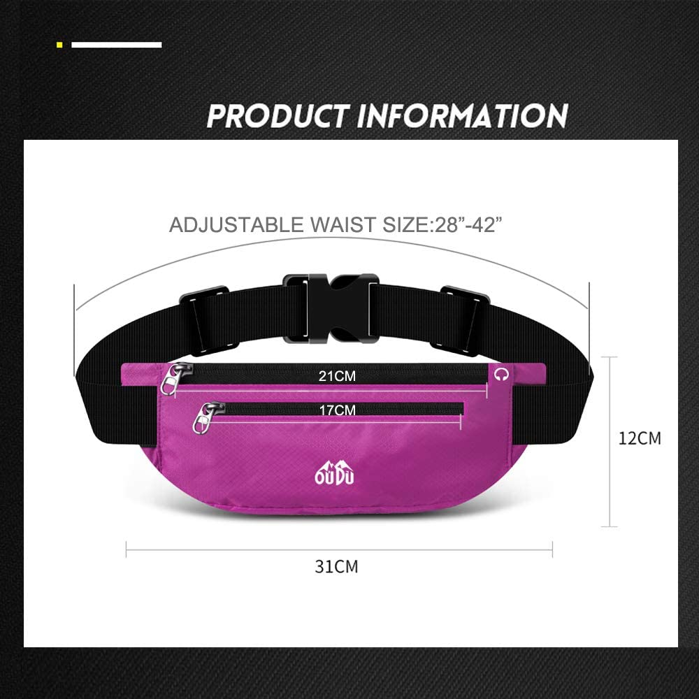 Fitness Workout Belt Workout Pouch for Man or Woman Sport Phone Holder for Running TOPEIUS Running Belt Outdoor Fanny Pack #319 Rose Red