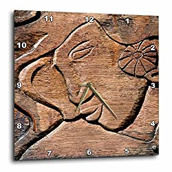 3dRose DPP_85093_3 French Polynesian Wooden Door Carving-Oc13 Jse0012-Jan and Stoney Edwards-Wall Clock, 15 by 15-Inch
