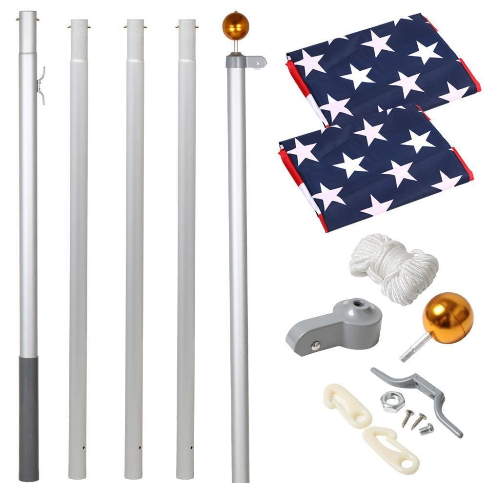 Yaheetech Heavy Duty Flag pole Gold Ball Outdoor Kit Halyard Patio Pole, 20ft ,with 2Pcs 3'x5' Flags by Yaheetech (Image #4)