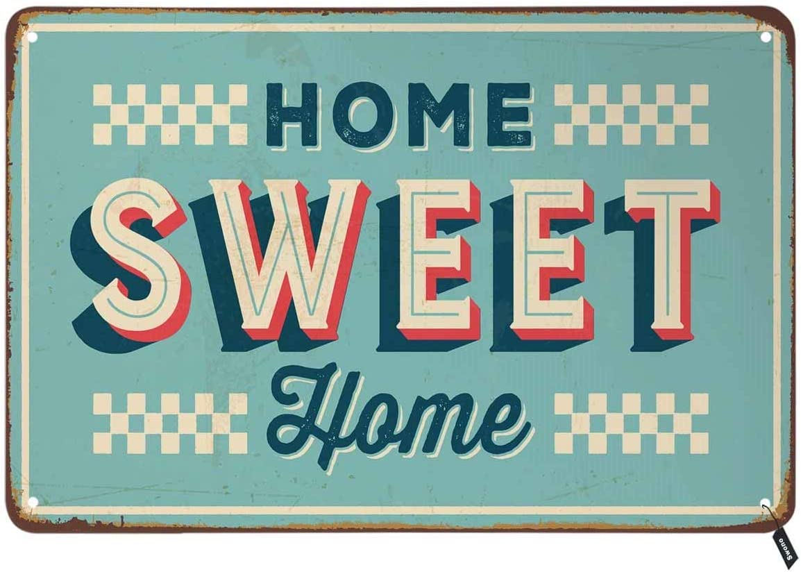 Swono Home Sweet Home Tin Signs,Letter on Light Blue Background Vintage Metal Tin Sign for Men Women,Wall Decor for Bars,Restaurants,Cafes Pubs,12x8 Inch