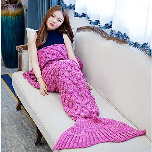 La Petite Sirène blanket louvre, queue de poisson climatisation knitting knitting couverture couverture pan anniversaire cadeaux idées cadeaux ,140cm*70cm, Rose