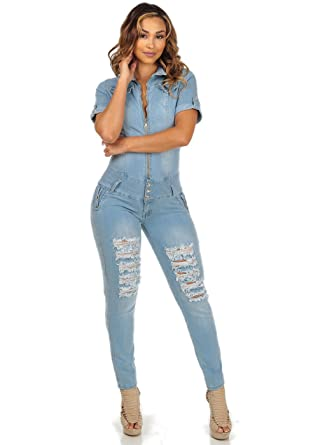 Sexy Womens Juniors Short Sleeve Denim Jumpsuit Summer Romper 10504G-3