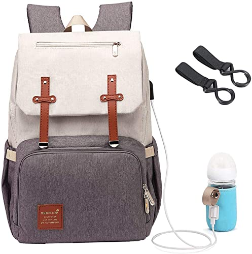 USB Large Capacity Mummy Baby Diaper Nappy Changing Bag External Travel Backpack