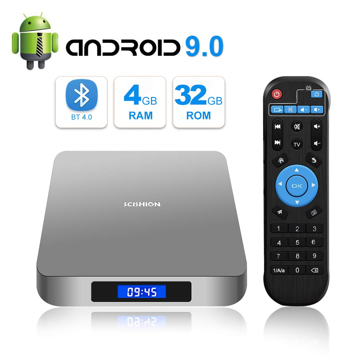 Android 9.0 TV Box, TUREWELL Android Box RK3328 Quad-core 64bit 4GB DDR3 32GB eMMC Memory Smart TV Box with Bluetooth 4.0 WiFi Ethernet HDMI HD 4K Media Player Set Top Box