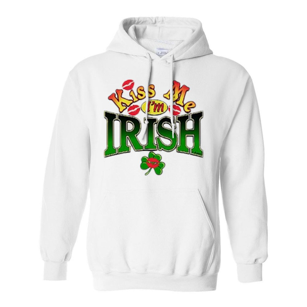 Kiss Me Im Irish with Red Lip Hooded Sweatshirts