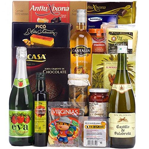 SADIVAL LOTES - Lote De Navidad Con Mosto Sidra Y Licor Sin Alcohol Queso Ibérico Turrones