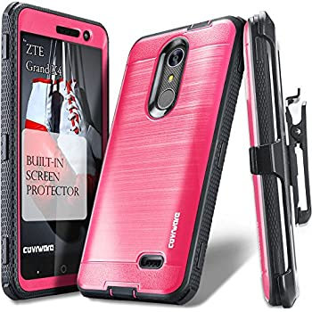 ZTE Grand X 4 / Blade Spark Case, COVRWARE [IRON TANK] Built-in [Screen Protector] Heavy Duty Full-Body Rugged Holster Armor [Brushed Metal Texture] Case [Belt Clip][Kickstand], Pink
