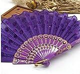 Purple Home Decoration Crafts Vintage Retro Peacock Folding Fan Hand Plastic Lace Dance Fans