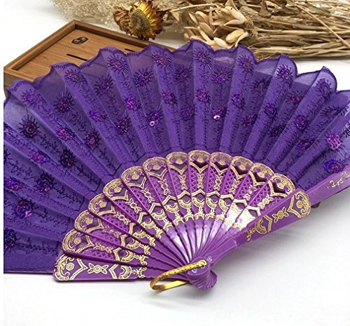 Purple Home Decoration Crafts Vintage Retro Peacock Folding Fan Hand Plastic Lace Dance Fans