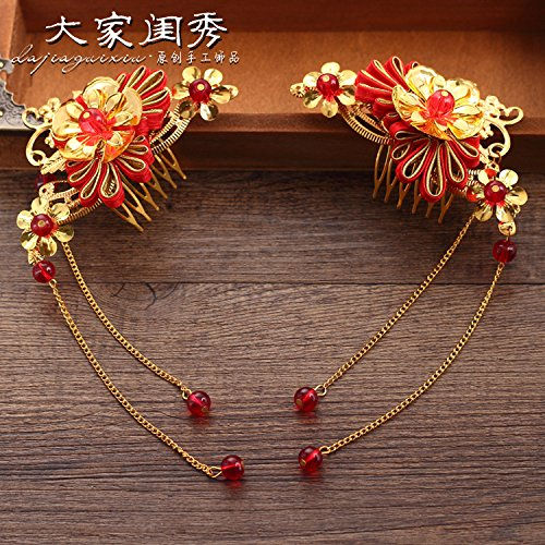 Ladylike picturesque fringed headdress bride costume comb Xiu Chinese cheongsam dress toast clothing hair accessories