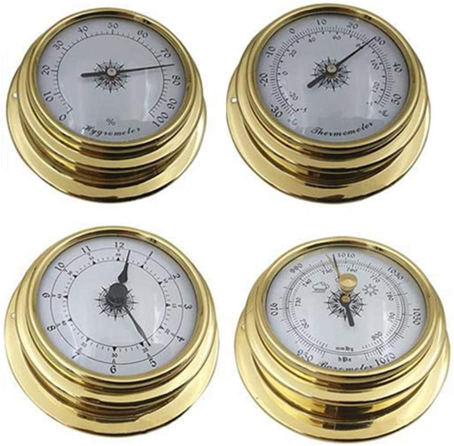 MOMOJIA 4 Inches 4 PCS//set Thermometer Hygrometer Barometer Watches Clock Zirconium Marine for Weather Station