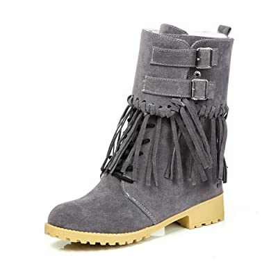 A&N Girls Square Heels Tassels Buckle Frosted Boots