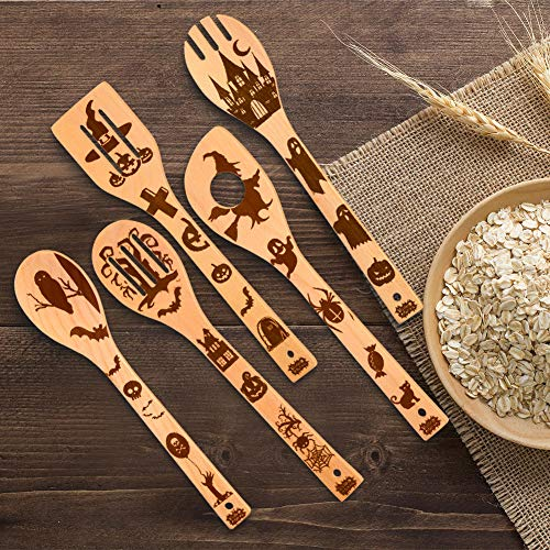 HANSGO Halloween Kitchen Cooking Utensils Set, 5 Pcs 12inches Kitchen Decorations Gifts Idea Burned Wooden Spoons Great Utensil Set, Fun New Year Gift Serving Utensils Spoon Slotted Spoon