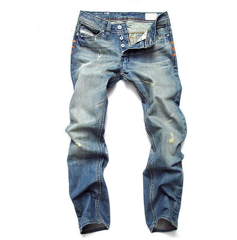 WANSHIYISHE Men Washed Pencil Straight Denim Biker Jeans Pants Trousers