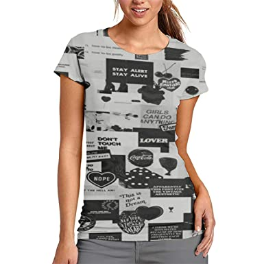 11e5085f Women's Black White Tag Cherry Fashion 3D Pattern Printed Short Sleeve T  Shirt Tee Shirts at Amazon Women's Clothing store:
