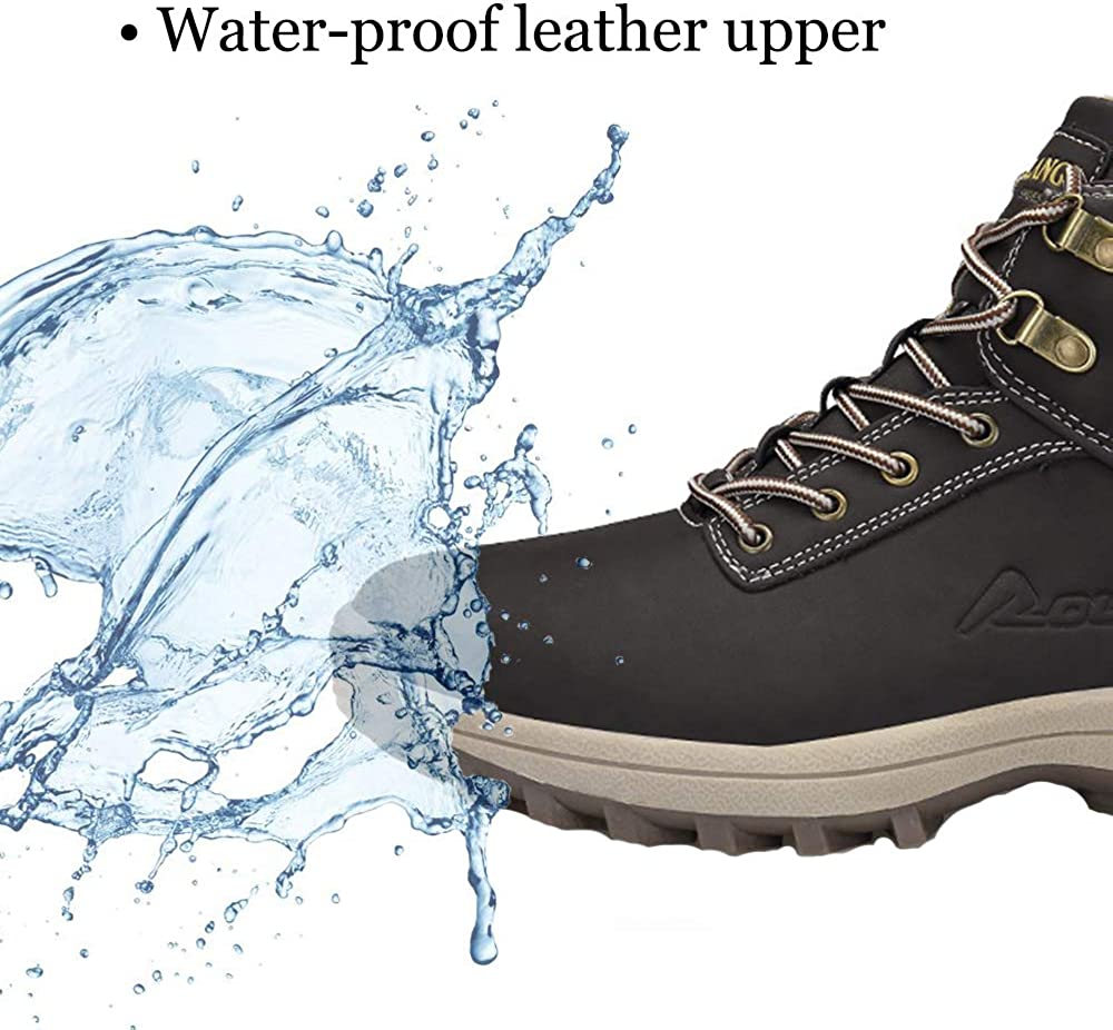 TSIODFO Mens Boots Winter Waterproof Leather Outdoor Hiking Shoes Black Brown