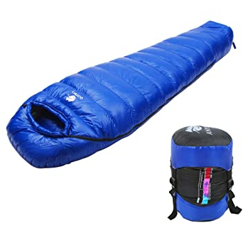 Anyoo 800 Fill Power Goose Down Saco de Dormir liviano Impermeable portátil de 32 F, ...