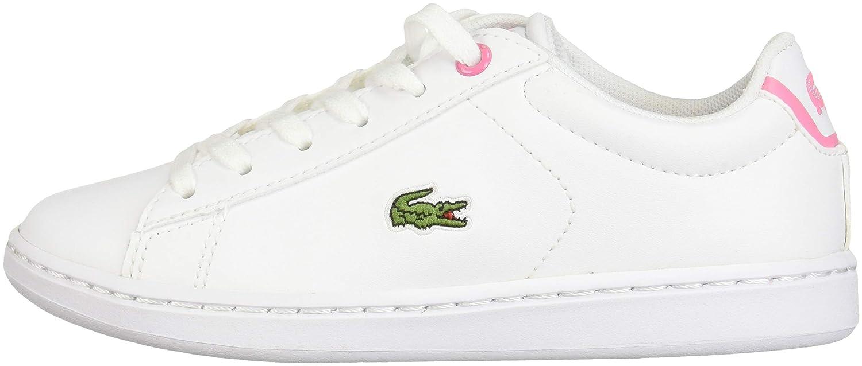 Medium US Little Kid Lacoste Girls Carnaby EVO Sneaker White//Pink 12