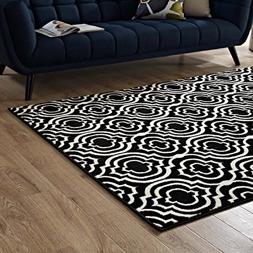 Modway Frame Transitional Moroccan Trellis 8x10 Area Rug in Black and - Accent White Transitional Rug
