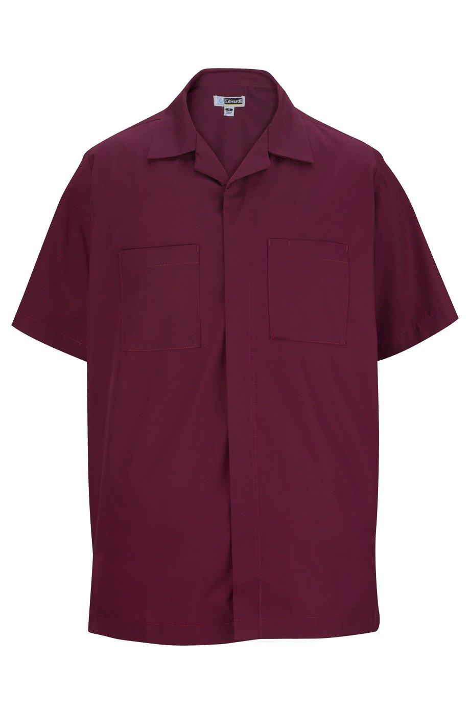 Ed Garments Men's Chest Pocket Service Shirt, CABERNET, M