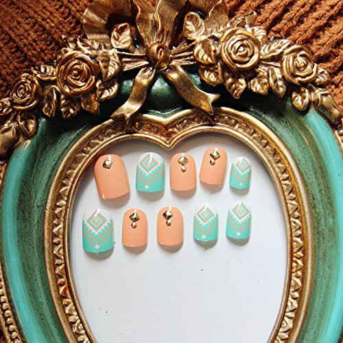 Yunail 24 pcs Green Orange Candy Short Fake Nails Rivets Nail Tips with Design in box cute fake nails (Cute Halloween Nail Designs For Short Nails)