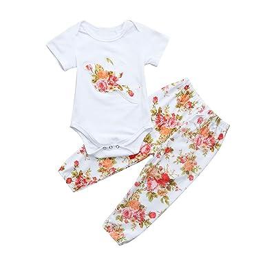 60547bde9 Amazon.com  Jchen Baby Girl Floral Romper Set