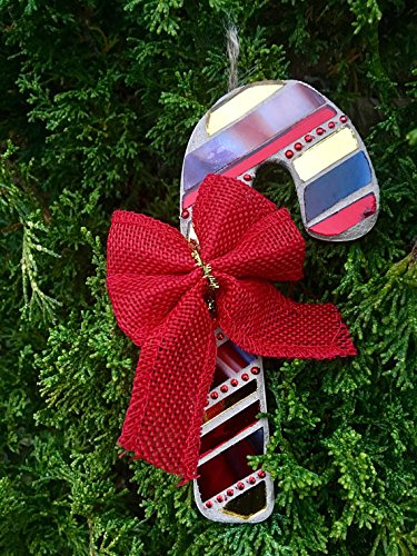Candy Cane Ornament, Stained Glass Mosaic Tree Ornament with Red Bow