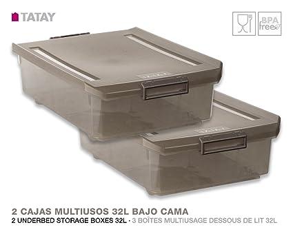 TATAY 1151214 Lote de 2 Cajas Multiusos 32 Litros Bajo Cama Color Fumé Translúcido