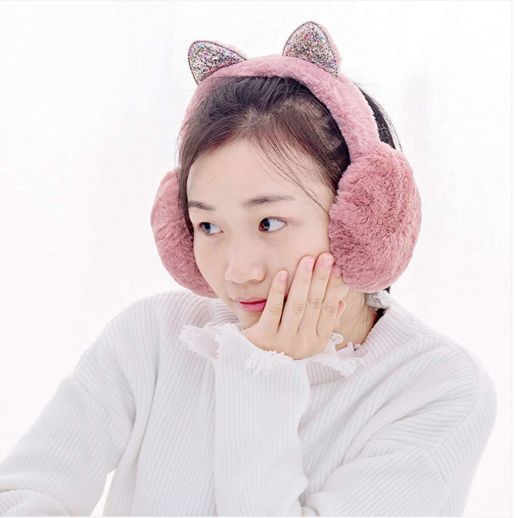 Women Girl Winter Earmuffs Sequins Cat Ears Design Windproof Warm Adjustable Fleece Earmuffs Watermelon Red
