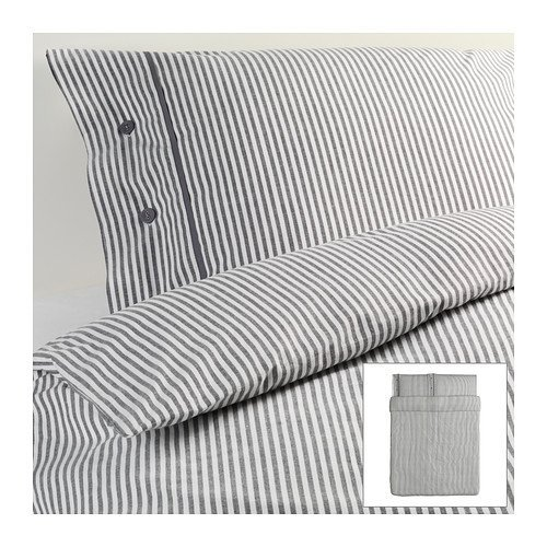 Ikea Nyponros Duvet Cover and Pillowcases, Full/queen, Gray (Duvet Covers Pillowcase)