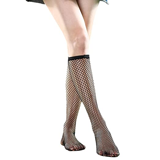 e22437c166e Image Unavailable. Image not available for. Color  Women s Black Mesh Socks  Fishnet Knee High ...