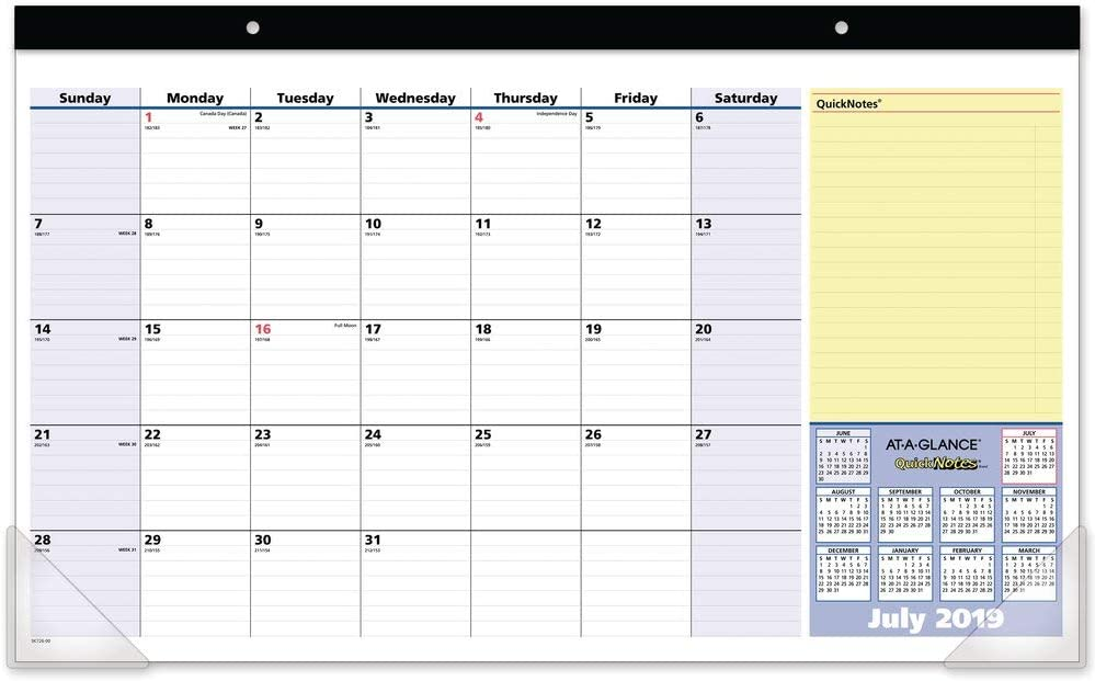 """AT-A-GLANCE 2019-2020 Academic Year Monthly Desk Pad Calendar, Compact, 17-3/4"""" x 11"""", QuickNotes (SK72600)"""