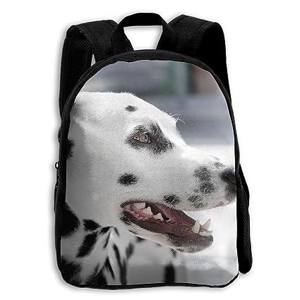 Bonita mochila escolar para niños con estampado de perro con lunares