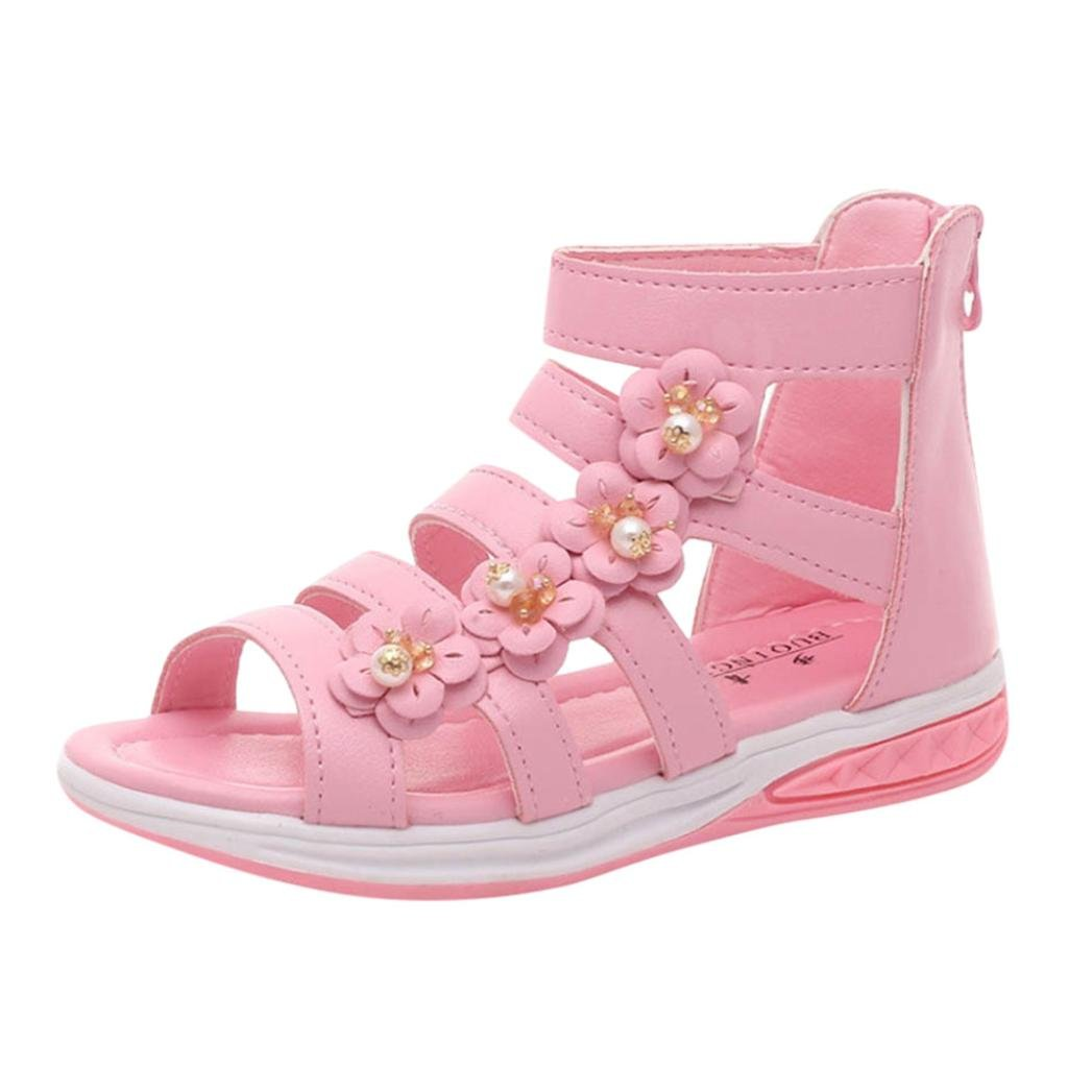 Vincent/&July Girls Summer Sandals Roman Zipper Flower Sandals Princess Shoes