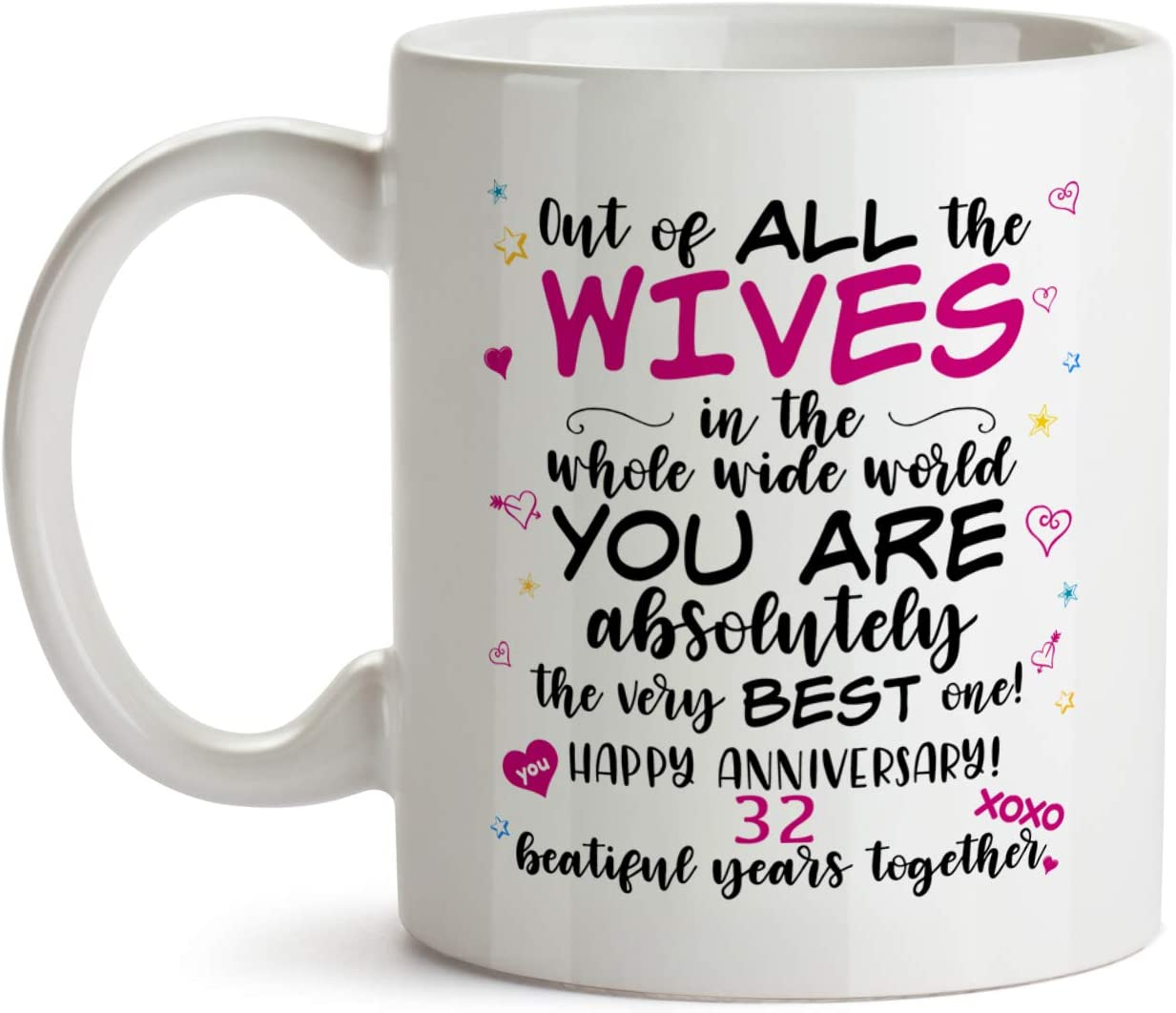 Amazon Com 32nd Wedding Anniversary Gift Mug Bb61 Happy Marriage Anniv To The Very Best Ever Wife Sentimental Present Idea From Husband 32 Thirty Second Two Year Married Funny