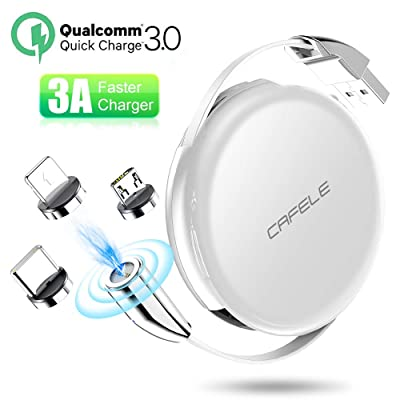 Magnetic Charging Cable, CAFELE Retractable Cable USB 3A Fast Charging Cord with LED Light, Universal 3 in 1 Magnet Charger Compatible with Type-C, Micro USB Port Phone Tablet and More - White/3.3ft
