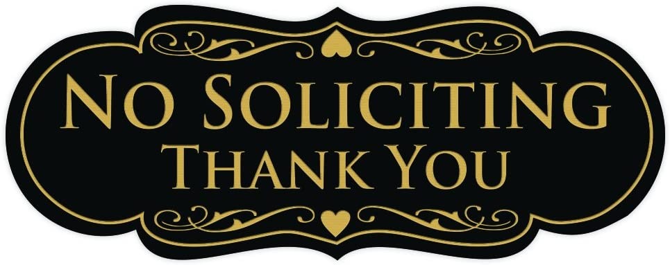 All Quality Designer NO Soliciting Thank You Sign - Black/Gold Medium
